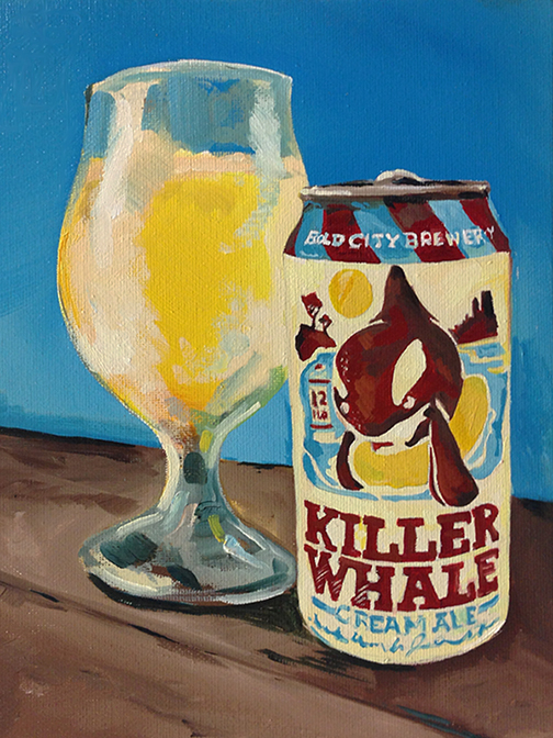 "Bold City Brewing, Killer Whale, 8""x10"" oil on canvas."