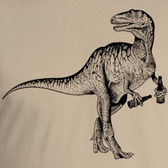 Beer Drinking Dinosaur T Shirt