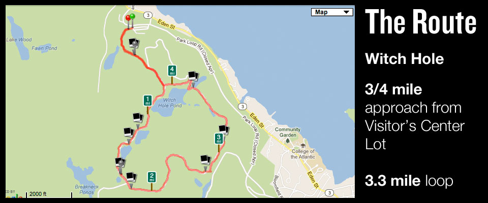 Map of Witch Hole Loop, Acadia Running
